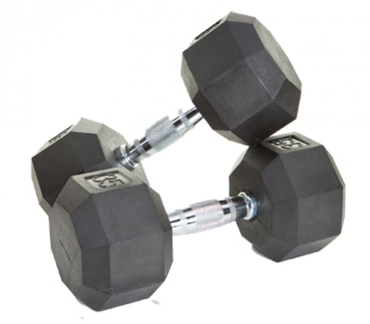 Picture of 8 Sided Rubber Encased Dumbbells - 50-100 lbs
