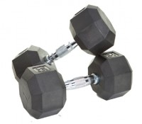8 Sided Rubber Encased Dumbbells - 50-100 lbs