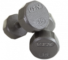 Picture of 12 Sided Solid Gray Dumbbells 55-100 lbs